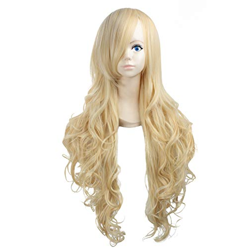 Miss Elegant 32''Long Wavy Cosplay Wig With Inclined Bangs Left Side Parting Lolita Anime Costume Cosplay Wigs NONE Lace Girls Daily Party Weeding Halloween Women Girls Heat Resistant (Blonde)