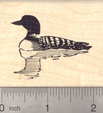Loon Rubber Stamps- Loon stamp on a wooden block