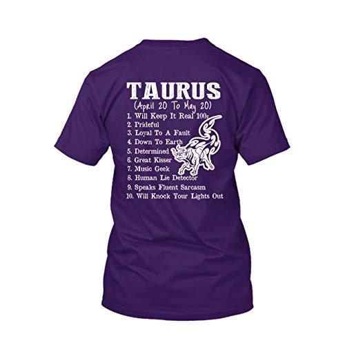 Taurus Funny 100% Cotton Tee, Short Sleeve Tshirt Purple,3XL