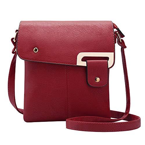 GLITZALL Crossbody Bag Small Satchel Faux Leather Wallet Cute Case School Messenger Bag (Red)