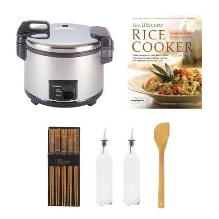 Cup Commercial Rice Cooker & Warmer Bundle with Cookbook + Silk Wrapped Chopsticks + 2 Oil & Vinegar Bottles + Bamboo Spatula Spoon ()