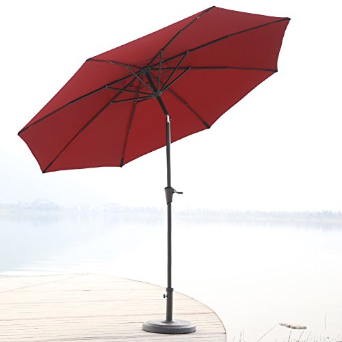 C-Hopetree 9 Ft Stylish Outdoor Patio Market Umbrella, with 8 Fiberglass Ribs, Auto Tilt, 250gsm Polyester Canopy, (Outdoor Fiberglass)