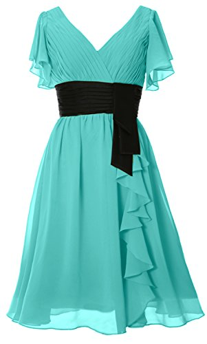 of Cocktail Bride Sleeve Short Dress MACloth Neck V Mother Gown Formal Turquoise Elegant zxITggwqC