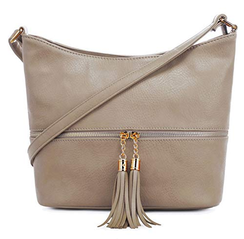 DELUXITY Medium Size Hobo Crossbody Bag with Tassel/Zipper Accent (Taupe)