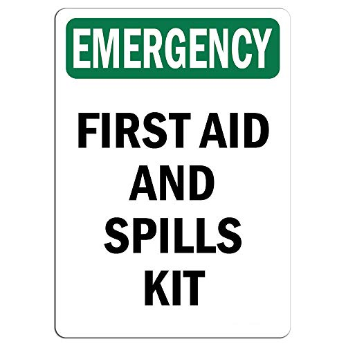 Emergency Sign - First Aid and Spills Kit |   Label Decal Sticker Retail Store Sign Sticks to Any Surface 8