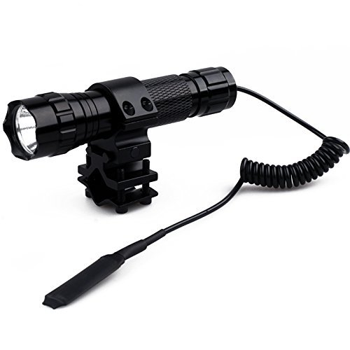 WindFire Waterproof Cree T6 Led 1000 lm 1 Mode Tactical Flashlight Torch with Pressure Switch and 1
