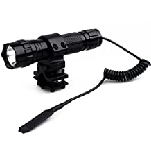 "WindFire® Waterproof Cree T6 Led 1000 lm 1 Mode 18650 Battery Tactical Flashlight Torch with Pressure Switch /Tactical Switch and 1 "" Barrel Mount for Picatinny Quad Rail Rifle (Battery not included)"