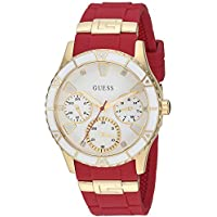 Guess U1157L2 Gold-Tone Stain Resistant Silicone Watch (Iconic Red)
