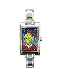 Christmas Grinch with Santa Hat (close up) Womens, Girls Rectangular Watch.. Think Small Wrist