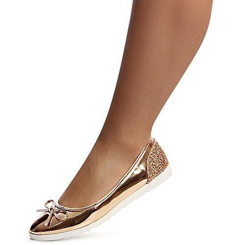 topschuhe24 1226 Damen Ballerina Glitzer Flats Slipper Rose Gold