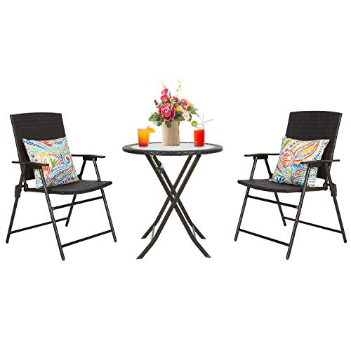 Iwicker Patio Rattan Steel Folding Bistro Set, All Weather Resistant Wicker, 3 PCS Set of Foldable Garden Table with Top Glass and Chairs with Arms
