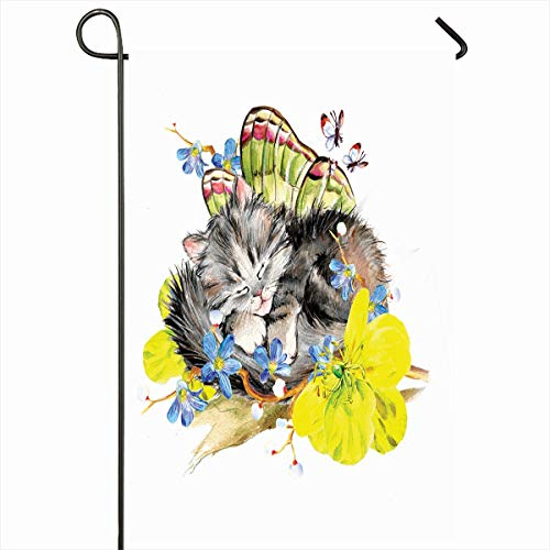 Ahawoso Outdoor Garden Flag 12x18 Inches Purebred Cat Pet Butterfly Kitten Watercolor Aquarelle Fairy Fancy Fluffy Kittie Seasonal Double Sides Home Decorative House Yard Sign