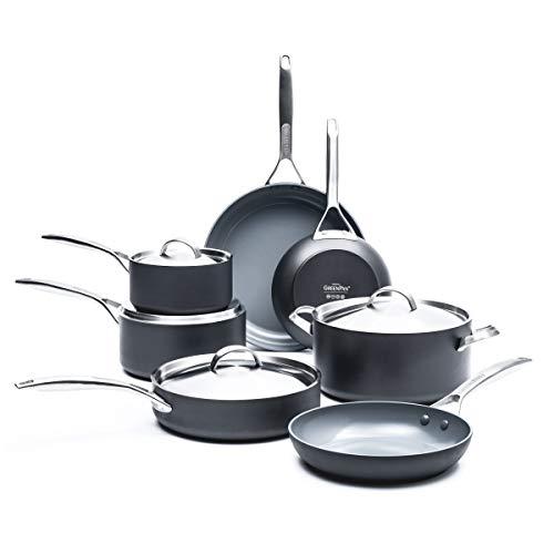GreenPan Paris Pro 11pc Ceramic Non-Stick Cookware Set, Grey –
