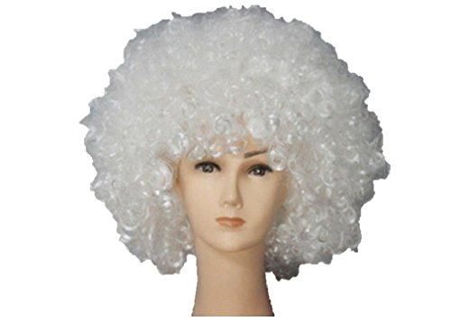 Unisex Clown Wig Circus Funny Fancy Party Dress Accessory Afro Stag Do Fun Joker (White)]()