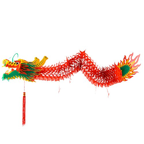 Lux Hanging Dragon Decoration 3D Handmade Traditional Chinese New Year Party Paper Dragon Hanging Paper Decor for Lantern Festival (65 -