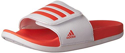 adidas Girls' Adilette Clf+ Adj K Slide Sandal, White/Easy Coral/White, 13 Medium US Big Kid 100w Slide
