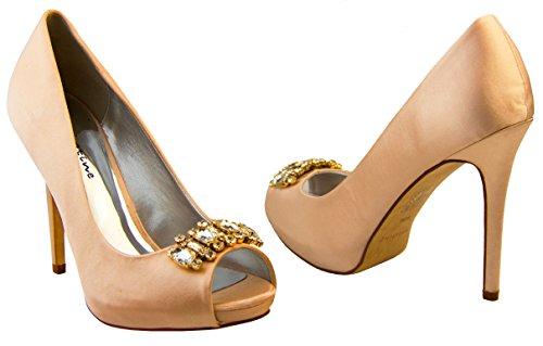Mujer Sabatine Satén diamante racimo nupcial boda zapatos Champagne