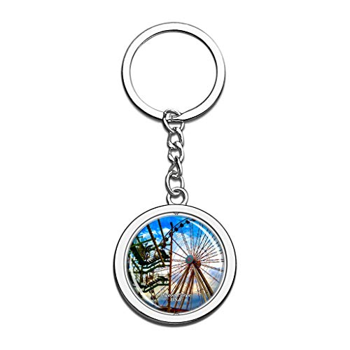 Shopping In Pigeon Forge (Hqiyaols Keychain USA America The Island in Pigeon Forge Souvenirs Crystal Spinning Round Stainless Steel Key Chain Ring Travel City Gifts)