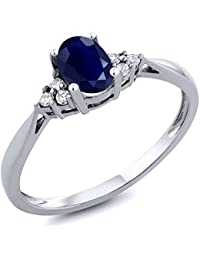 14K White Gold Blue Sapphire and Diamond Women's Ring 0.61 cttw, Available in size (5,6,7,8,9)