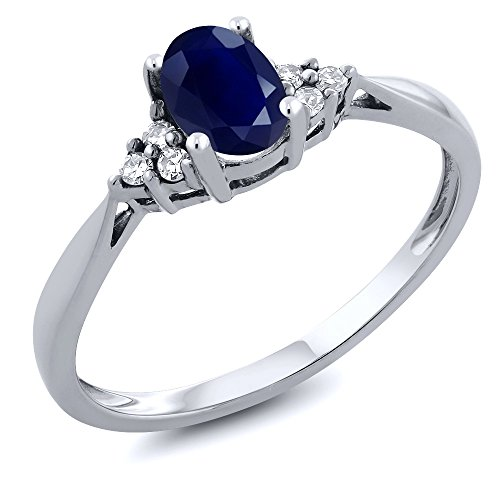Gem Stone King 14K White Gold Blue Sapphire and Diamond Women's Engagement Ring (0.61 Cttw, Available 5,6,7,8,9) (Size 7) (Rings Gold Diamond In)