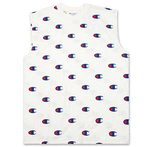 d Tall Sleeveless Jersey Tank Muscle Tee Shirt Logo All Over Print White 4X Big ()
