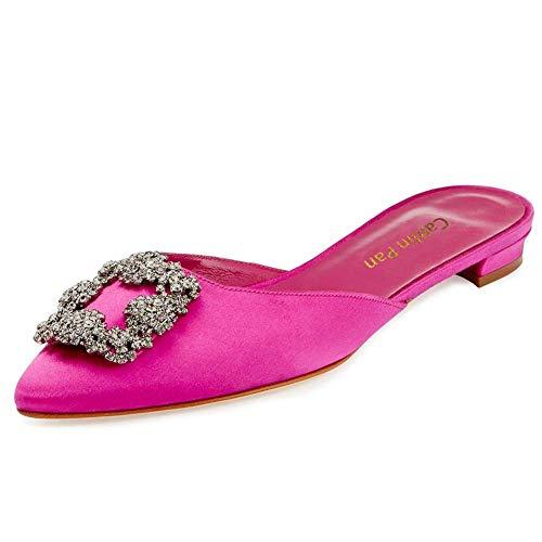 a Caitlin con pink Alti in Tacchi Womens Diamanti Punta Insole Pink Tacchi Classic Pan Alti Punta in Raso Slipper wrTz6r01xq