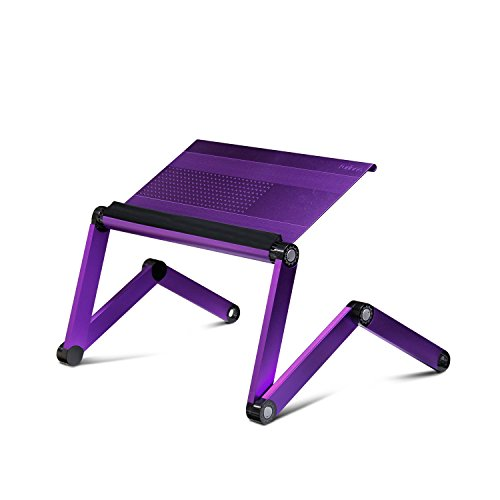 Price comparison product image Furinno A6-Purple Ergonomics Aluminum Vented Adjustable Laptop Portable Bed Tray, Purple