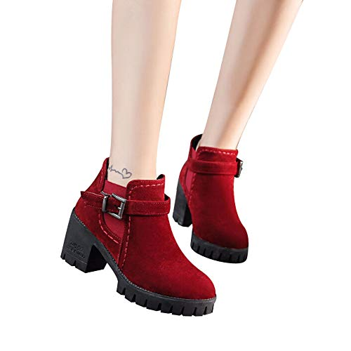 Thick with Boots Suede Buckle Bottom Women's Boots Martin Casual Leather Shoes Color Head Round Classic Wild Red FALAIDUO Solid n8wHIpvqv