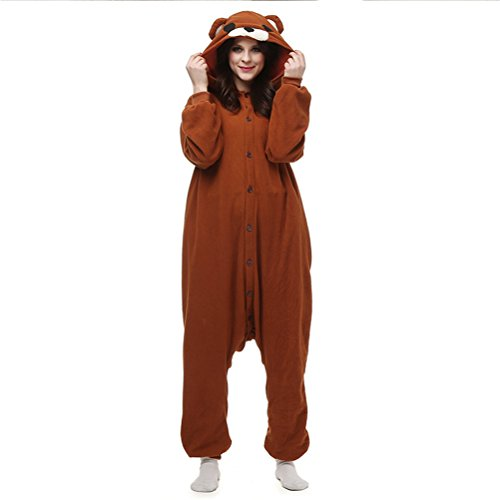 Tamaño Noche Combinación Unisex color Traje Ropa Marrón Pijama Animal Dormir Disfraz Capucha Con De L Fiesta Cosplay Marrón Navidad qzRxEwatwW