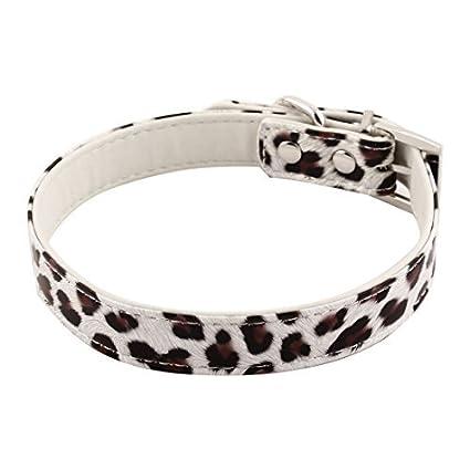 eDealMax Leopardo del Cuero anillo de la Forma de impresión D Faux Ajustable Correa del Collar