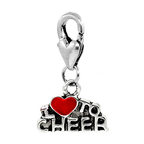 I Heart to Cheer Red Cheerleader Clip-On Charm for Bracelets