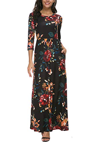 Zattcas Women's Floral Maxi Dress 3/4 Sleeve Casual Long Printed Maxi Dresses with Pockets (XX-Large, 3/4 Sleeve-Black Multi)