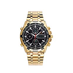 Men's Sports Watch, LED Backlight Digital Waterproof Multifunctional Alarm Clock Japanese Quartz Movement Steel Strip Men Wristwatches,Black