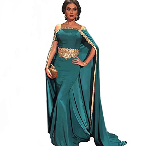 Lavendel Elegant Arabic Cape Evening Dresses Gold Appliques Boat Neck Prom Dress
