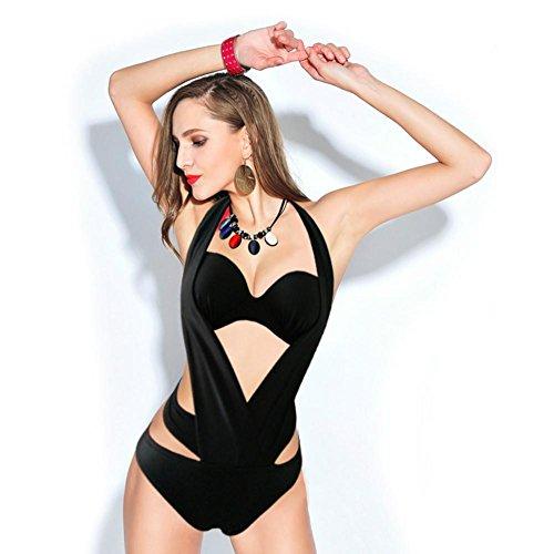 XLHGG Mujeres Bandage Bikini Set Push Up traje de baño de baño acolchado Bra Black