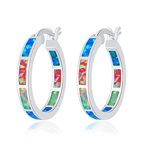 CiNily Created Blue Pink White Fire Opal Women Jewelry Gemstone Rhodium Plated Hoop Earrings 7/8