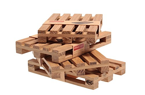 Mini Wooden Pallet Coaster Desk Accessory Cup Holder Office Organizer Hand Crafted Set