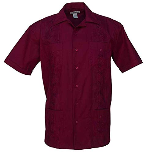 Foxfire Short Sleeve Embroidered Guayabera Shirt, Wine, ()
