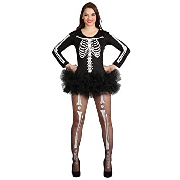 Adult Skeleton Tights Womens Halloween Fancy Dress Outfit Accessory Ladies