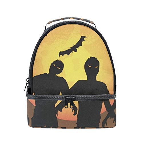 (HEOEH Zombie Trick Or Treat Lunch Bag Insulated Lunch Box Cooler Tote Bag Adjustable Strap)