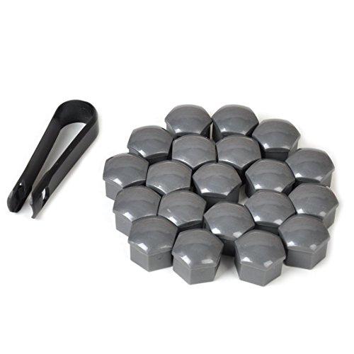 Farmunion 20 Pcs New Universal 17mm Wheel Lug Nut Bolt Cover Caps +Removal Tools (Gray)