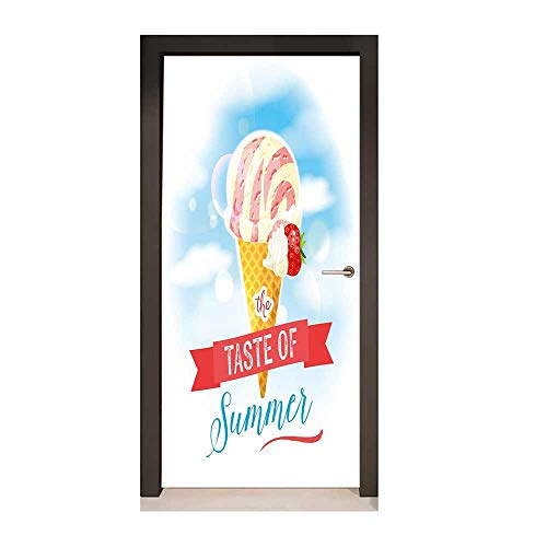 - Ice Cream Decor Door Wallpaper The Taste of Summer Quote with Cone and Strawberry Clouds Inspiration Print Environmental Waterproof Multicolor,W23xH70