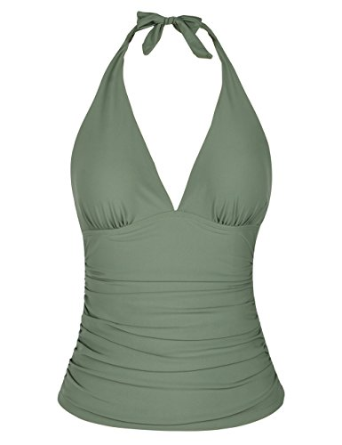 Hilor Women's Plunging V Neck Halter Swim Tops Shirred Tankini Top Army Green 10