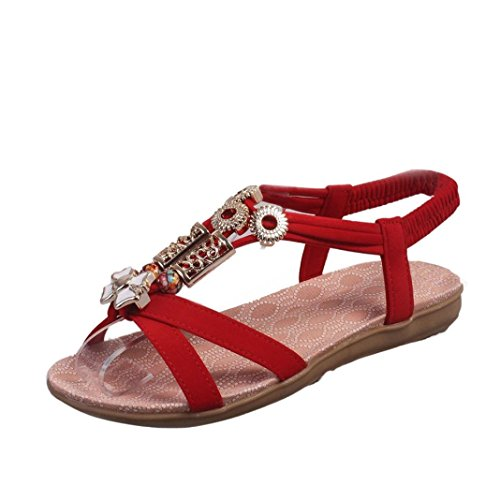 Sandalen  Elecenty Elecenty Sandalen Damen Sommer Schuhe,Boho Schuh  Damenschuhe Knöchelriemen Sommerschuhe Shoes Sandaletten Frauen Flache 1b8591fbb8