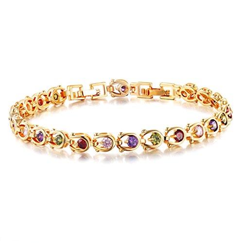 [Fashion romantic women Color Crystal 18K gold plated bracelet Korean AA cubic zirconia jewelry] (1980s Costume Jewellery)