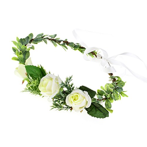 (Floral Fall Adjustable Bridal Flower Garland Headband Flower Crown Hair Wreath Halo F-83 (Y-Ivory Flower Ribbon))