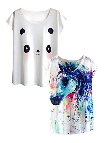 futurino Women's Dream Mysterious Horse Print Short Sleeve Tops Casual Tee Shirt (M, White and Panda)]()
