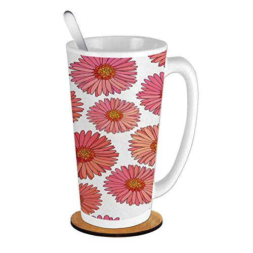 - Aster Pink Blooms Flower Field Essence Fragrance Mother Nature Tropical Flourish,Pink Coral White - 副本 Ceramic Cup with Spoon & Round wooden coaster Creative Morning Mug Milk Coffee Tea Cup Mug 16oz