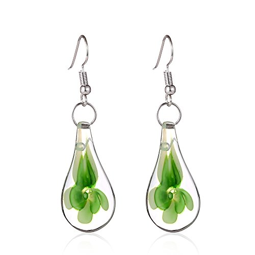 Murano-style Glass Green Flower Teardrop Earrings