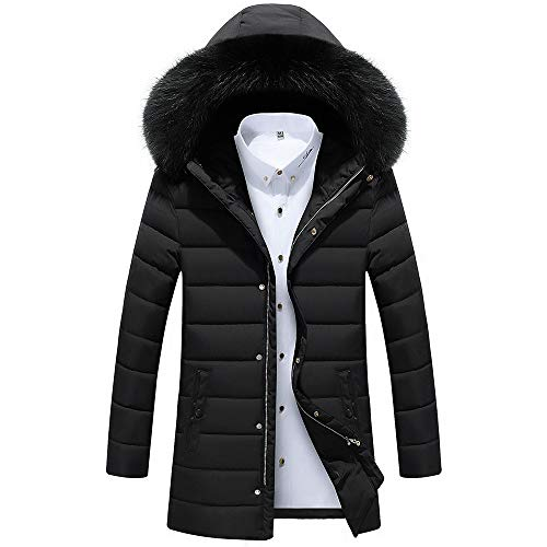 iZZZHH Men's Autumn Winter Jacket Thicken Slim Overcoat Long Trench Zipper Caps Coat(Black,XXL) (2xlt Trench Coat)